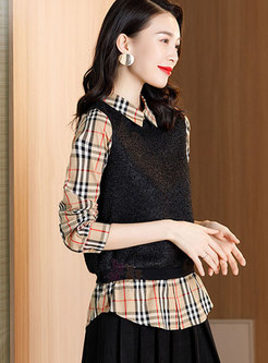 Long Sleeve Plaid Patchwork Pullover Blouse
