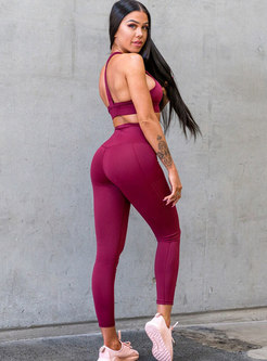 Solid Color High Waisted Workout Tracksuit