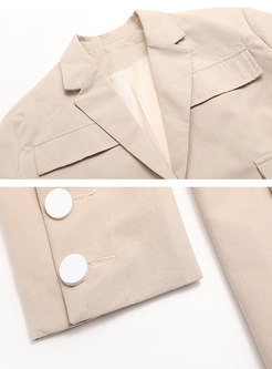 Notched Long Sleeve Slim Blazer With Belt