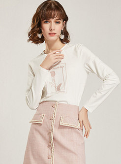 White Long Sleeve Letter Pullover T-shirt