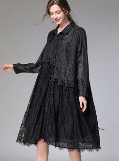 Plus Size Loose Lace Chiffon Shirt Dress