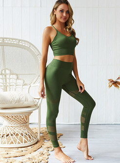 Solid Color Slim Openwork Workout Tracksuit