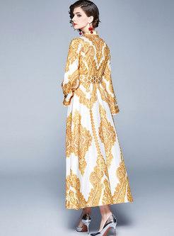 Lapel Flare Sleeve Print Maxi Formal Dress