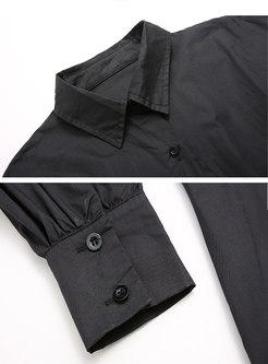Lapel Long Sleeve Empire Waist Shirt Dress
