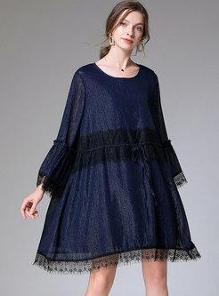 Plus Size Lace Patchwork Chiffon Dress