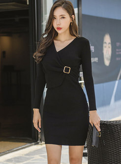 V-neck Sheath Asymmetric Knitted Dress