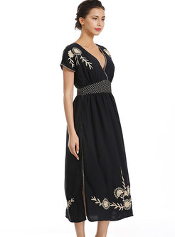 Deep V-neck Embroidered Slit Maxi Dress