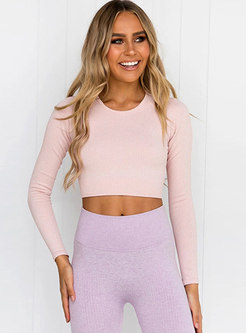 Crew Neck Long Sleeve Pullover Yoga Top