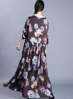 Crew Neck Print Patchwork Plus Size Dress