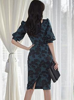 Square Neck Puff Sleeve Print Bodycon Dress