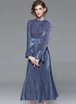Flare Sleeve Belted Sheath Peplum Dress