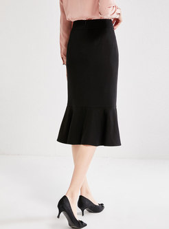 Black High Waisted Bodycon Peplum Skirt