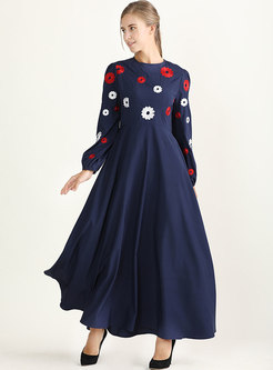 Long Sleeve Embroidered Big Hem Maxi Dress