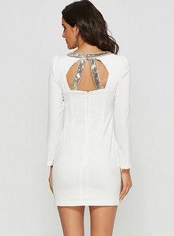 Long Sleeve Bodycon Mini Dress With Metal