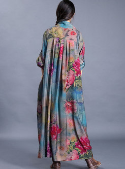 V-neck Print Asymmetric Plus Size Maxi Dress