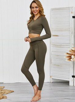 Long Sleeve Front Zipper Yoga Tracksuit