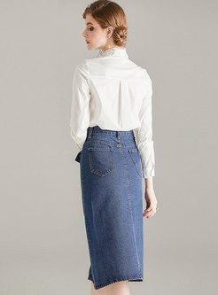 Mock Neck Long Sleeve Slim Denim Suit Dress