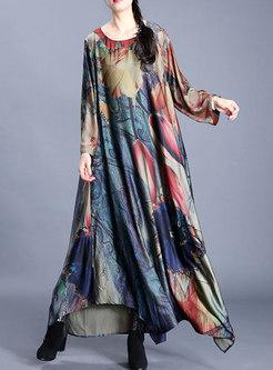 Crew Neck Plus Size Silk Print Maxi Dress