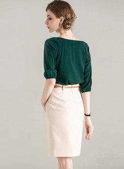 V-neck Half Sleeve Bodycon Suit Dress