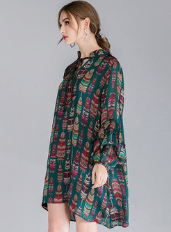Tie-neck Bowknot Print Shift Dress