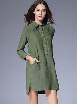 Casual Turn Down Collar Shirt Dress
