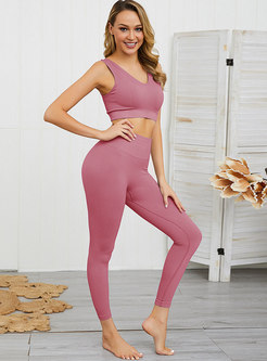 V-neck Sleeveless Sheath Fitness Tracksuit