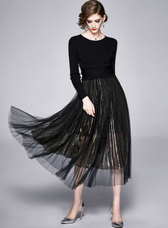 Pullover Sweater Mesh Pleated Suit Dress