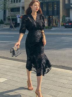 V-neck Half Sleeve Peplum Chiffon Party Dress