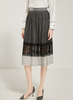 High Waisted Lace Patchwork Skirt