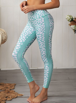 Polka Dot Print Slim Yoga Pants