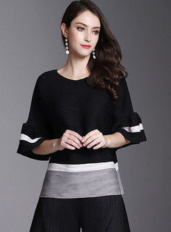 Color-blocked O-neck Flare Sleeve Loose T-Shirt
