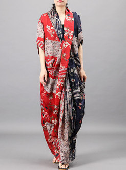 V-neck Front Cross Print Maxi Dress With Camisole