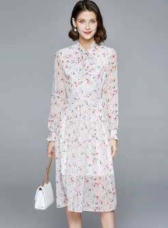 White Long Sleeve Print A Line Dress