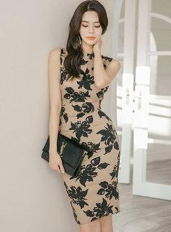 Mock Neck Sleeveless Backless Bodycon Dress