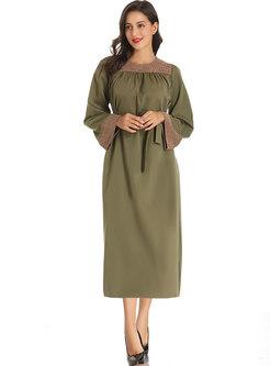 Plus Size Crew Neck Patchwork A Line Dress