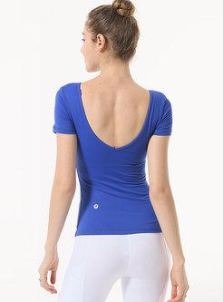 Solid Color V-neck Backless Yoga Top