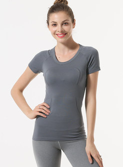 Crew Neck Short Sleeve Sheath Yoga Top
