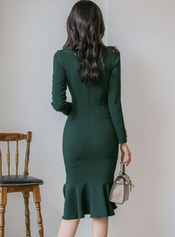 Long Sleeve Asymmetric Bodycon Peplum Dress