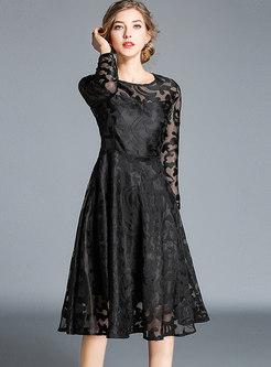 Long Sleeve Openwork Homecoming Dress