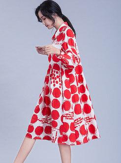Lapel Long Sleeve Polka Dot Plus Size Shift Dress