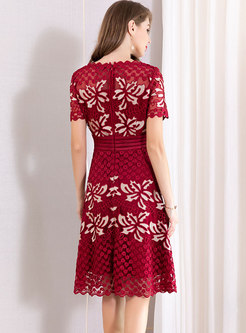 Elegant O-neck Embroidered Slim Midi Dress