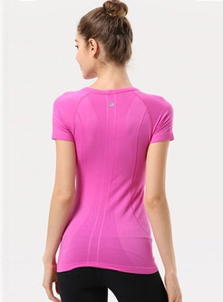 Solid Color Pullover Slim Fitness Top