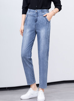Solid Color High Waisted Denim Harme Pants