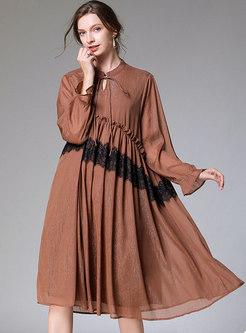Lace Patchwork Plus Size Chiffon Shift Dress