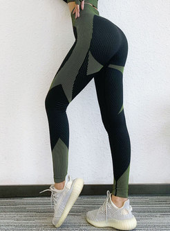 Color-blocked High Waisted Tight Yoga Pants