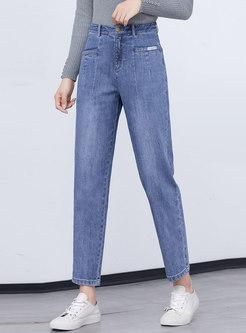Blue High Waisted Denim Harem Cropped Pants