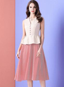 V-neck Falbala Patchwork Striped A Line Dress