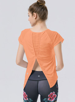 Crew Neck Mesh Patchwork Fitness Top