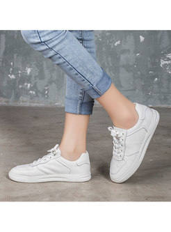Round Toe Cowhide Soft Sole White Flats