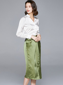 V-neck Satin Slit Bodycon Suit Dress